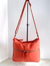 FOSSIL Leather Erin Watermelon Top Zip Adj. Strap Cross Body Bag NWT $158 + Tax