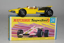 MATCHBOX SUPERFAST #34 FORMULA 1 RACING CAR, YELLOW, AMBER WINDOWS, BOXED
