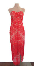 BNWT Elle Zeitoune Luxe Women's Macey Red Lace Strapless Dress Size S