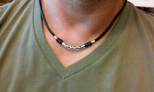 Leather Mens beaded Surfer Necklace Choker  bar style necklace