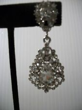 """2.25"""" silver crystal dangle clip on earrings non pierced prom bridal drag queen"""