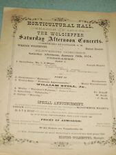Music Program from The Wolsiefer Saturday Afternoon Concerts January 24th, 1874!