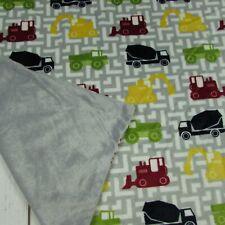 Thro Car Cement Truck Tractor Baby Boy Blanket Grey Velour Security Lovie Lovey