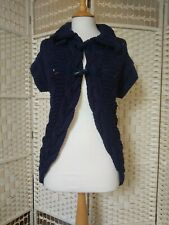 Ted Baker Blue Chunky Knit Toggles Short Sleeve Cardigan Size 10