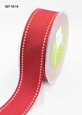 """MAY ARTS RIBBONS~GROSGRAIN STITCHED EDGE~RED & WHITE~1 & 1/2"""" WIDE~SOLD BTY!"""