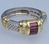 Judith Ripka Silver 18K Yellow Gold Diamond Pink Tourmaline Vintage Band Ring 6