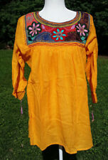 Maya Mexican Blouse Top Shirt Embroidered Semi-Sheer Chiapas Large Yellow 218