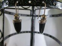 Vintage Sterling Silver Onyx Bali Style Hook Earrings RP11