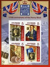 Solomon Islands 2015 MNH Penny Black 175th Anniv Europhilex 4v M/S Rowland Hill