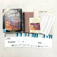 """King's Quest VI 6 PC Dos Game 5.25"""" Floppy Big Black Box Hint Book Guide Review"""