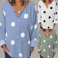 ZANZEA 8-24 Women Polka Dot Printed Top Tee Blouse Long Sleeve Button Down Shirt
