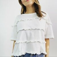 Current/Elliott White Ruffle Trim Boxy Tee Women's Size Small