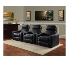 Home Theater Leather Seat Lounge Sofa Recliner Living Room With Cup Holder NEW