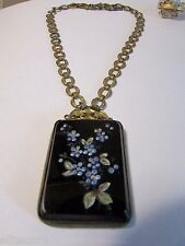 Vintage Victorian Black Glass Enamel Flower Necklace Ornate Link Mourning
