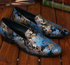 Mens genuine leather Printed Floral slip on Loafers Business Dress formal Shoes
