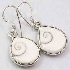 Tropfenförmiger Ohrringe Mit SHIVA-AUGE EYE Schale, Ohrhänger 925 Silber! Indien