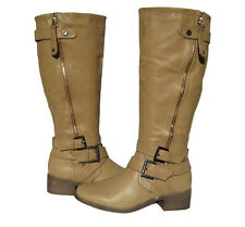 New Women's Knee High Riding Winter Boots Beige Snow Ladies Shoes size 6