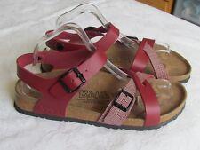 NEW Birkis By Birkenstock Ladies Red Checked Sandals UK Size 7.5 EU 41