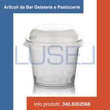 PZ 100 COPPETTE DI PLASTICA CC 150 + COPERCHIO PER MACEDONIE YOGURT E GELATI