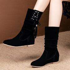 Women's Mid Calf Slouch Boots Hidden Wedge Pointed Toe Flats Heel Booties US 6