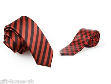 Black and Red Checkered Check Skinny Neck Tie Fancy Dress Office New