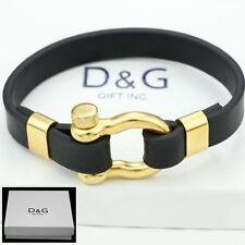 """DG Men's.8"""" Gold Stainless Steel,HorseShoe.Black Leather-Bracelet*Unisex..BOX"""