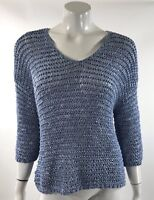Chicos Womens Sweater Size Large / 2 Blue Open Knit Drop Shoulder Mesh Pullover
