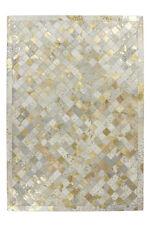Flachflor Teppich 100% Leder Handgefertigt Elfenbein Gold Teppiche  120x170 cm