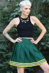 Cheerleader Skirt Greem/White/yellow Sexy Vintage 90s Varsity Waist 30 inches