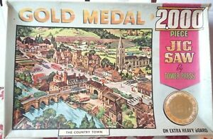 TOWER PRESS Gold Medal The Country Town 2000 pce JIGSAW PUZZLE Complete Vintage