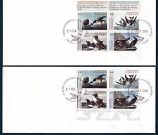 AUDUBON BIRDS ON CANADA 2003  Scott 1982a, 2MARGINAL BLOCKS ON 2 FDC'S