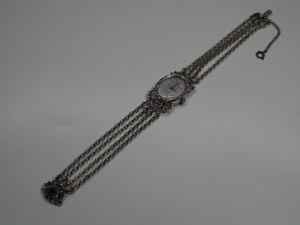 schöne alte 835 SILBER DAMEN ARMBANDUHR DAU Uhr Silberschmuck mit Granat