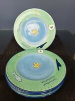 """BRUSHES HAND PAINTED KIC Starfish Dinner Plates 10 5/8 """" LOT OF 4!"""