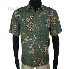 BATIK BAY Men's SMALL Button Front BROWN & GREEN SHIRT Tropical PALM TREE Print