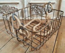 NEW French Vintage Shabby Chic Metal Rustic Hanging ROPE Gold Storage Basket