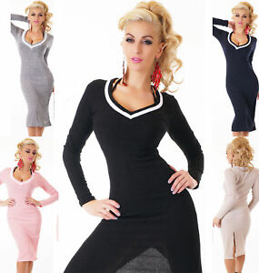 Women Long Sleeve Bodycon Knitted Jumper Dress Evening Party Cocktail Mini Dress