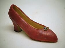 Classic Style Pump Shoe w Low Heel Red w Beads Resin Shadowbox Curio Cabinet Dcr