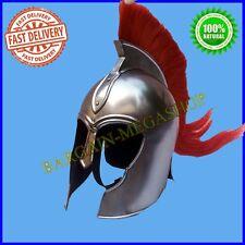 Spartan Greek Steel Troy Helmet W/ Red Plume Costume Armor LARP CX4