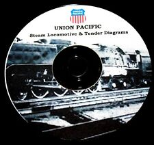 Union Pacific Railroad Steam Locomotive & Tender Diagrams & Data  PDF Pages  DVD