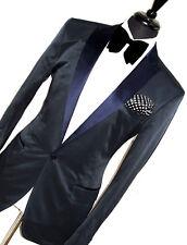 Homme d&g/Dolce & Gabbana Italie Bleu Marine Tuxedo Dîner costume 42R W36 x L32