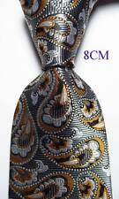 New Classic Paisley Gray White Gold JACQUARD WOVEN 100% Silk Men's Tie Necktie