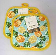 Set of 2 Pineapple Pot Holders Hot Pads Kitchen Grill Luau Hawaiian Beach Party