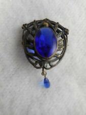 VICTORIAN SILVER PL BEADED SHIELD PIN W/ REVERSE FACETED COBALT GLASS CABOCHON