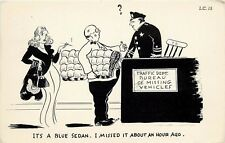 Comic Postcard Police Officer Traffic Cop Sexy Woman Smoking Cigarette