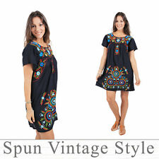 Vtg Mexican Oaxacan style floral embroidered Dress peasant boho Maternity Tunic