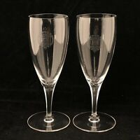 2 Crystal Etched US Scientia Naval Academy Sherry Cordial Glasses