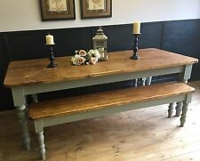 7ft Pine Dining Table and Two Benches Handmade in Farrow & Ball