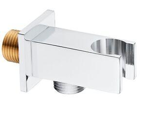 Keenware KSA-005 Brass Shower Wall Elbow Outlet With Handset Holder: Square