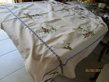 LOVELY HAND EMBROIDERED RECTANGULAR TABLECLOTH -VILLAGE HOUSE WITH PALMS
