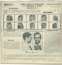 1937 ALVA DEWEY HUNT, LEADER OF HUNT-GANT GANG, DEPRESSION ERA FBI WANTED POSTER